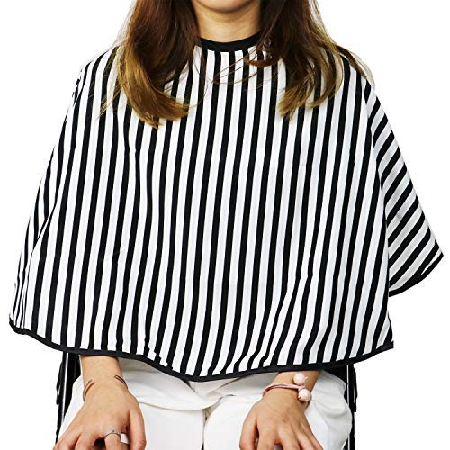 HUELE Striped Short Hair Salon Cutting Cape Professional Beauty Salon Styling Cape Barbers Hairdressing Gown with Loop Closure