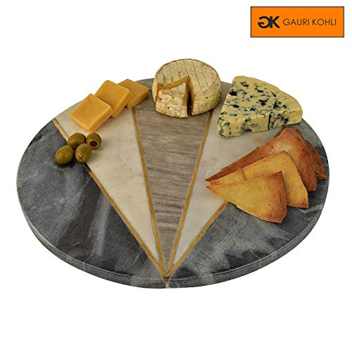 GAURI KOHLI Beautiful Marble & Brass Cheese Board/Charcuterie Platter (Size Large | Shape Round | Color White)