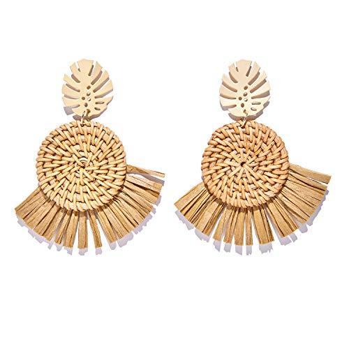 Tassel Earrings Bohemia Handmade Wooden Rattan Straw Weave Tropical Palm Leaves Earrings Fashion Casual Geometric Round Dangle Earring Jewelry Female Gift