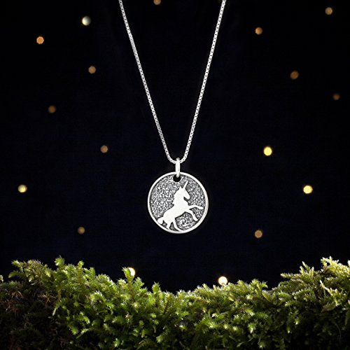- Sterling Silver Unicorn in the Moon Medallion Pendant - Double Sided - (Chain Optional) - Solid .925 Sterling Silver, Ready to Ship