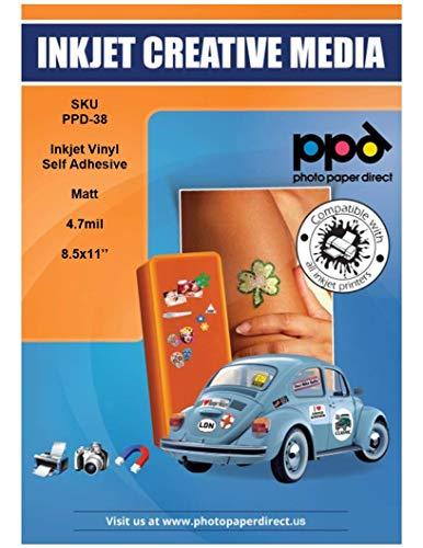 PPD Inkjet Matt Creative Vinyl Stickers LTR 8.5x11'' 4.7mil x 40 Sheets (PPD038-40) by Photo Paper Direct