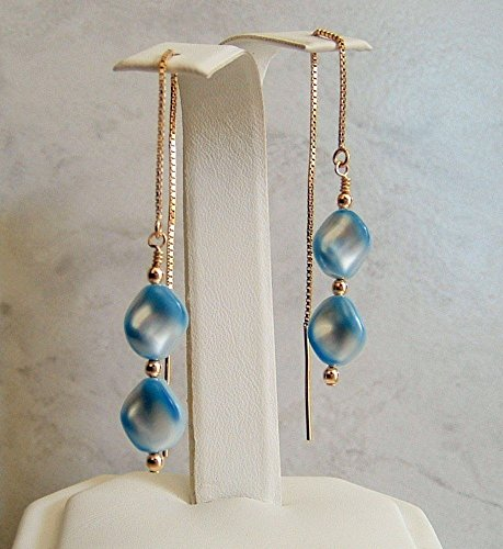 Light Blue Swarovski Elements Simulated Wave Pearl Earrings 14K Gold Filled Ear (Gold Filled Costume)
