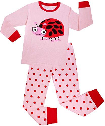 Girls Ladybug Pajamas Set Children Christmas Clothes Cotton Gift Pjs Size 2 Years