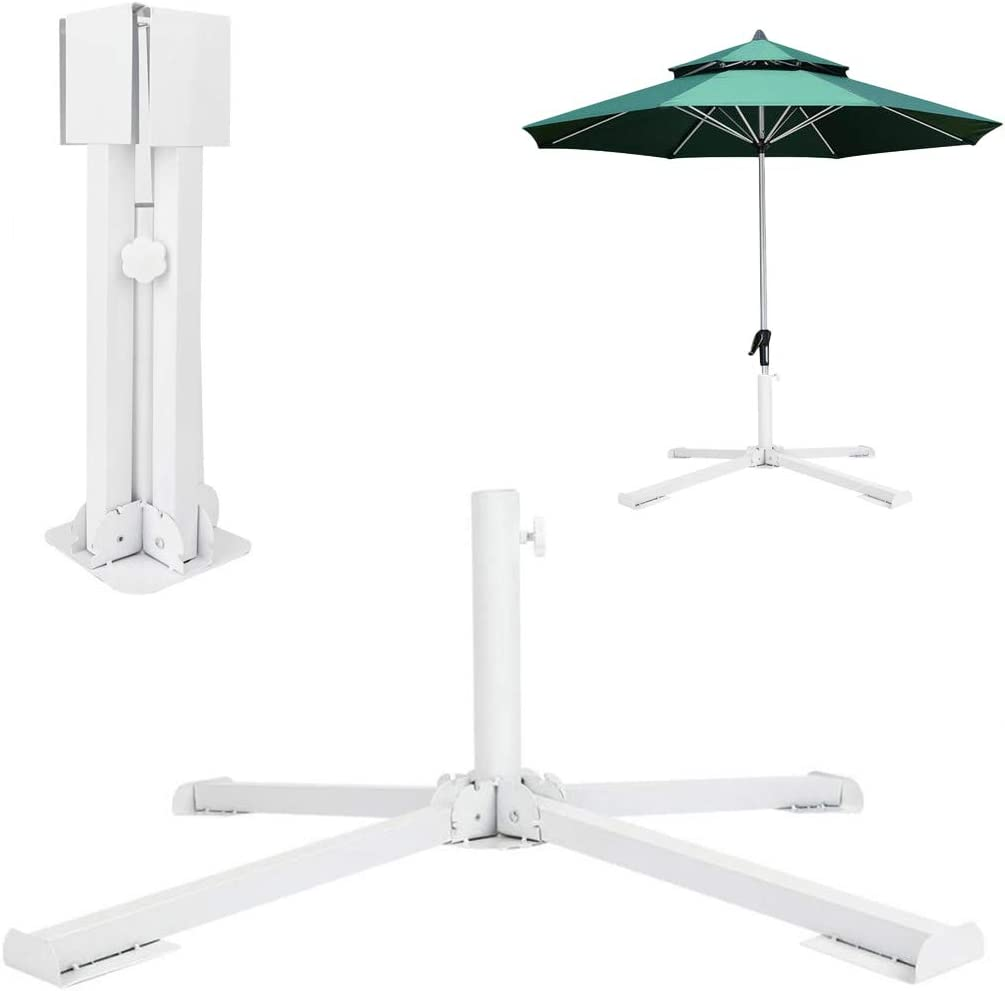GKanMore Artificial Christmas Tree Base Stand Umbrella Base Stand Foldable Metal Base Stand Holder for Artificial Xmas Tree Outdoor Patio Beach Umbrella, White