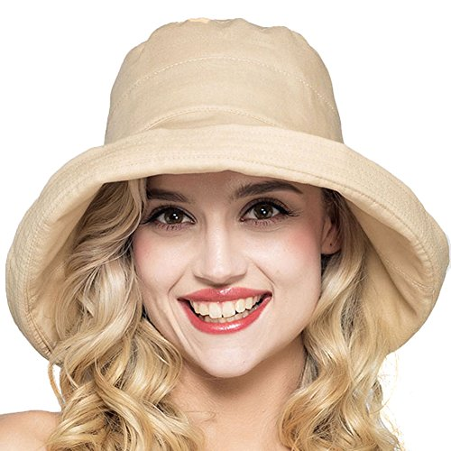 Women's Cotton Big Brim Hat with Bow Foldable Beach Hat Bucket Hat - Noosa Stores