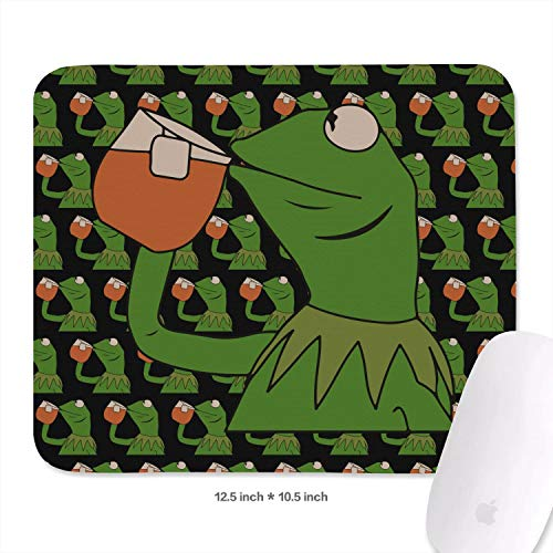 Womens Students 27cm x 32.1cm Funny-Green-Frog-Sipping-Tea-Wrist Rest with Black Anti Slip Rubber Base Waterproof 3mm Thick Fancy Wireless Mousepad Mat for PC -