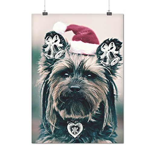 Yorkshire Cute Christmas Yorkshire Matte/Glossy Poster A3 (42cm x 30cm) | Wellcoda