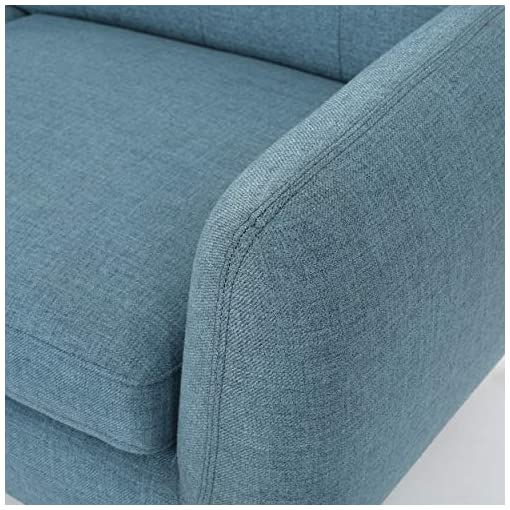 Living Room Christopher Knight Home Josephine Mid-Century Modern Petite Fabric Sofa, Blue / Natural Finish modern sofas and couches