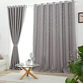 Agreable NIBESSER Rideau De Fenêtre à Oeillets Occultants Isolant Thermique Ciselée  Etoiles Moderne Pour Salon Chambre Balcon