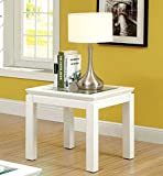 Furniture of America Kappa Contemporary Glass Top End Table, White