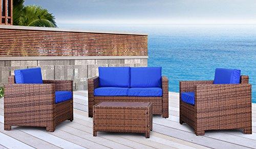 The Eden Rock Collection 4 Pc Outdoor Rattan Wicker Sofa
