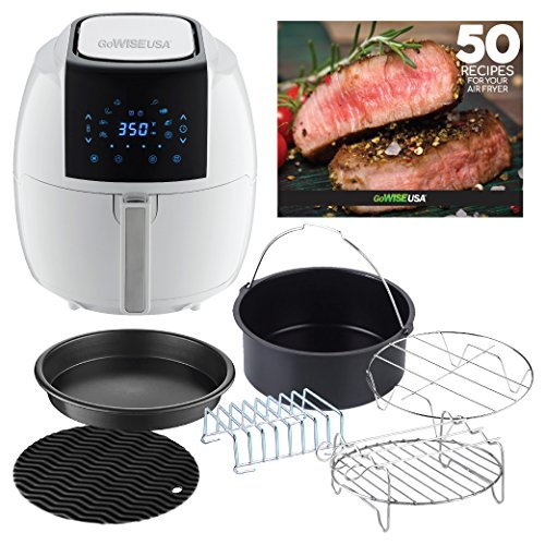 GoWISE USA 5.8-Quarts 8-in-1 Air Fryer XL with 6-PC Accessory Set + 50 Recipes for your Air Fryer Book (White)