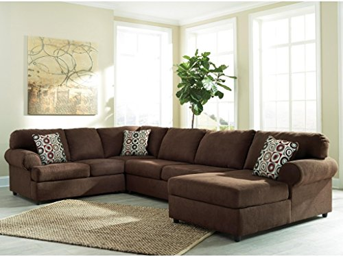 Ashley Jayceon 64904-66-34-17 3-Piece Sectional Sofa with Left Arm Facing Sofa Armless Loveseat and Right Arm Facing Chaise in Java