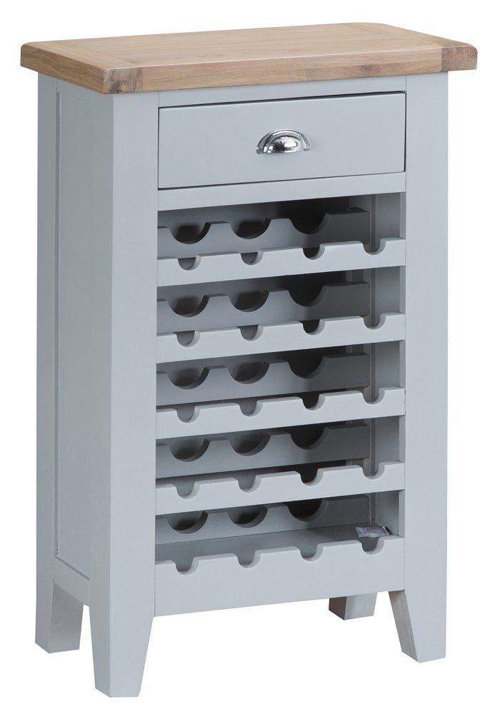 Suffolk Grey Painted Oak Wine Cabinet Classic Furniture
