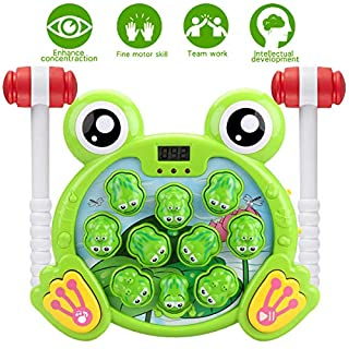 SZBXD Interactive Whack A Frog Game, Active, Learning, Early Developmental Education Pounding Toy with Music&Light, Fun Gift for Kids Age 2 3 4 5 6 Boys Girls Toddlers(2 Hammers)