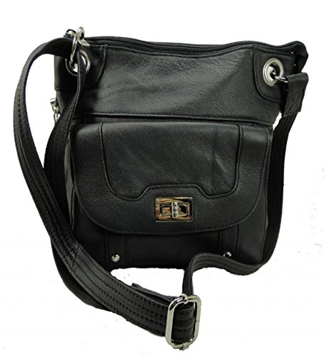 Roma Leathers 7028 Black Genuine Leather Turnlock Conceal...