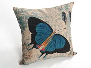 DeanOnlineStore Blue Butterfly Cotton Linen Square Throw Pillow Case Decorative Cushion Cover Pillowcase for 18 x 18 inch