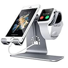 Spinido 2 in 1 Phone Desktop Tablet Stand & Apple Watch Charging Stand Holder for Apple iWatch/ iPhone/ ipad (Space Grey)