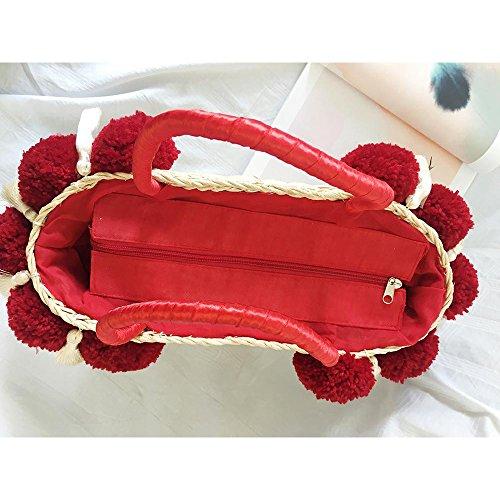 Cloth A Playa Puff Bolsa Con Estilo Hecho Flores Mano Nuevo De beige Lady Red Bag Medida Bordado Gaoqq Verano Fringe qx8FCwaI