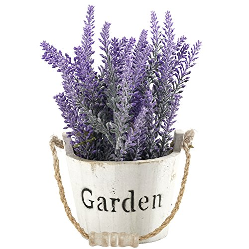 MyGift Artificial Lavender in Vintage Style Whitewashed Wood Stave Garden Bucket with Rope Handle -