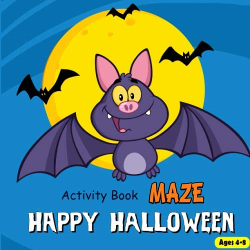 Activity Book Maze Happy Halloween: Puzzle Games Mazes Find Differences Connect The Dot To Dot  Cross Words Word Search For Kids Ages 3-5, 4-8, 8-12 (Activity Book For Kids)]()