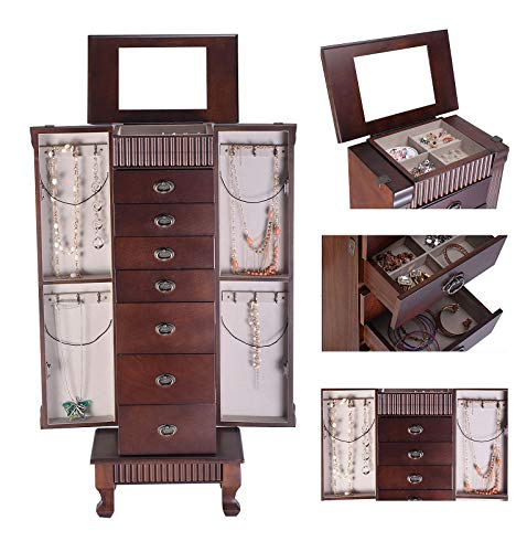 (Storage Rings Watches Earring Jewelry Box Necklace Cosmetic Cabinet Mirror Wardrobe Dressing Tabletop Shelf Rack 7 Drawers 6 Hook Hanging Valuable Box Organize Luxuriously Oriental Accessories)