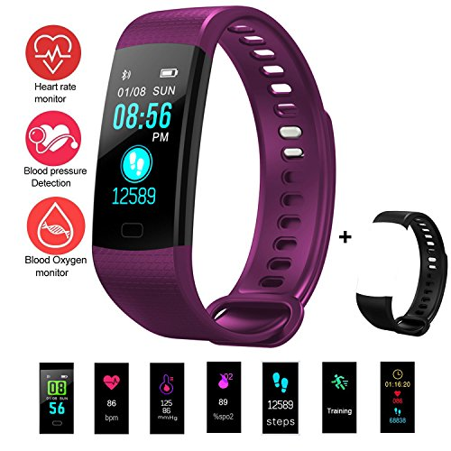 feifuns Fitness Tracker, Activity Tracker Heart Rate Blood Pressure Monitor Bluetooth Smart Wristband Bracelet, Waterproof Fitness Watch with Replacement Band for Android & IOS (Black+Purple Band) Bracelet Wristband Usb