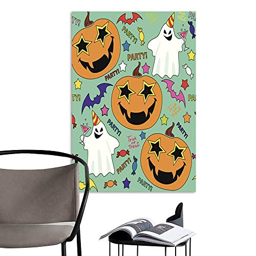 UHOO Linen Art Prints PicturesVector Seamless Pattern with Having Fun Halloween Pumpkin.jpg Wall Art for Bedroom Living Room 16