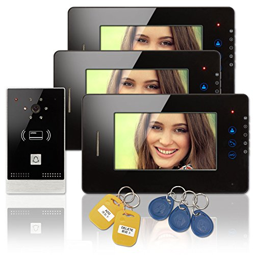 Wired-7-inch-LCD-Touch-Key-Color-Video-Door-Phone-Intercom-Doorbell-1-Camera-3-Monitor-RFID-Access-Control-Security-Entry-System