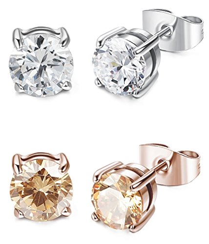 New Solitaire Earrings (LOYALLOOK 2 Pairs Stainless Steel Rose Gold Tone Champagne Round Solitaire Stud Earrings 8MM)