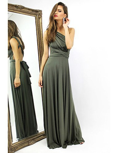 GSP-Damen Kleid Sexy Solide Maxi Elasthan V-Ausschnitt