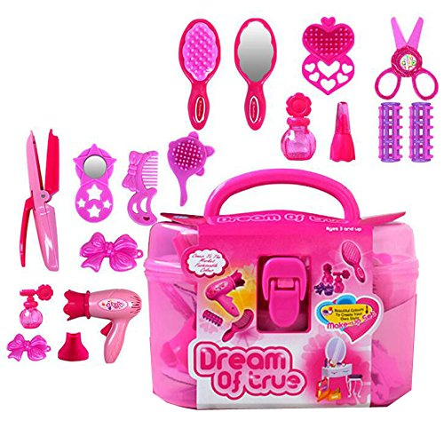 Miss.AJ Stylish Girls Deluxe Beauty Salon Fashion Play Set with Hairdryer, Curling Iron, Mirror & Styling Accessories