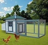 GHP Portable Wooden Deluxe Backyard Chicken/Rabbit Coop Hen House Nesting Box