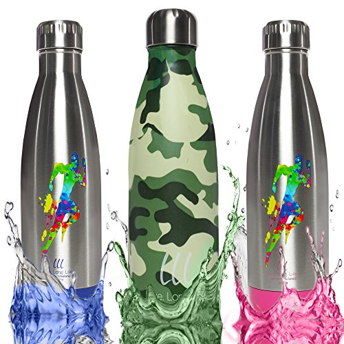 LLL-LIVE.LONG.LIFE Triple-Wall Vacuum Insulated Stainless Steel Water Bottle -Ice Cold 40 Hours Technology - 17 Ounce Leak Resistant,Multicolored