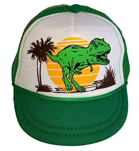 [Dinosaur Baby Infant Mesh Trucker Hat Cap Newborn Green White Snapback] (Dinosaur Hats)