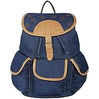 Roshiaaz Women's Canvas 3 Pocket Blue Backpack Bags