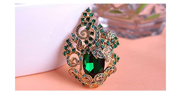 b3bfe063a43 1pc Luxurious Vintage Retro Topaz Large Luxury Crystal Flowers Brooches  Bouquet Women Collares Christmas Brooch Pins Wedding Brooche - Antique Gold  Green