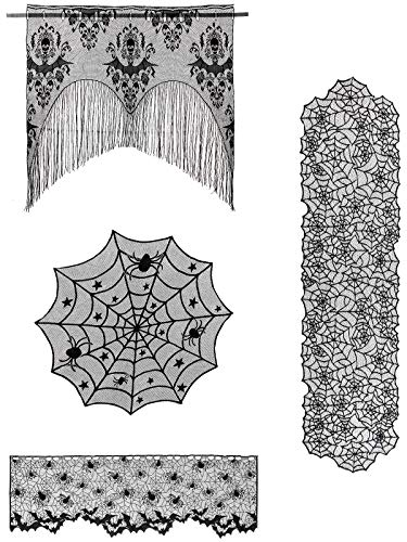 ANPHSIN 4 Pieces April Fools' Day Halloween Decoration Lace Cobweb Tablecloth Fireplace Mantels Valances Covers