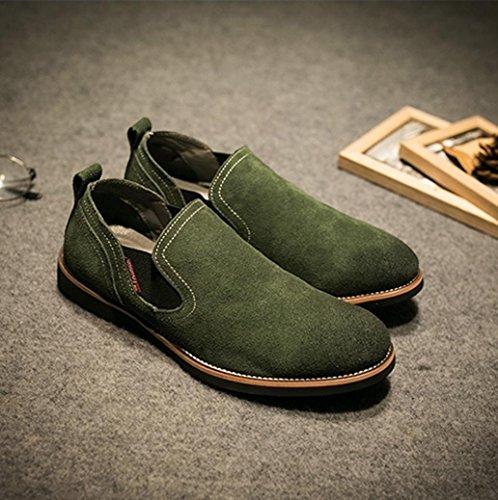 Heart&M cuero zapatos mocasín de hombre casual cuero genuino helado ante poner un pie army green