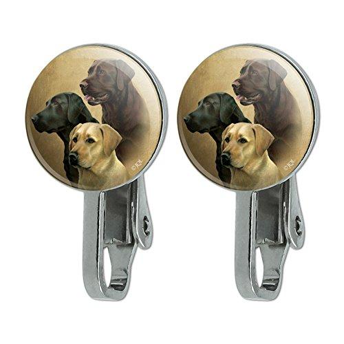 (GRAPHICS & MORE Labrador Retriever Trio Dogs Portrait Novelty Clip-On Stud Earrings)