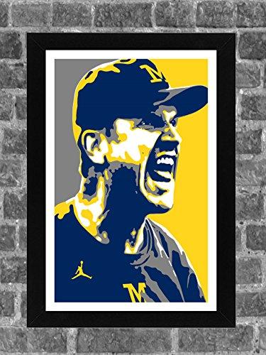 Michigan Wolverines Jim Harbaugh Portrait Sports Print Art 11x17