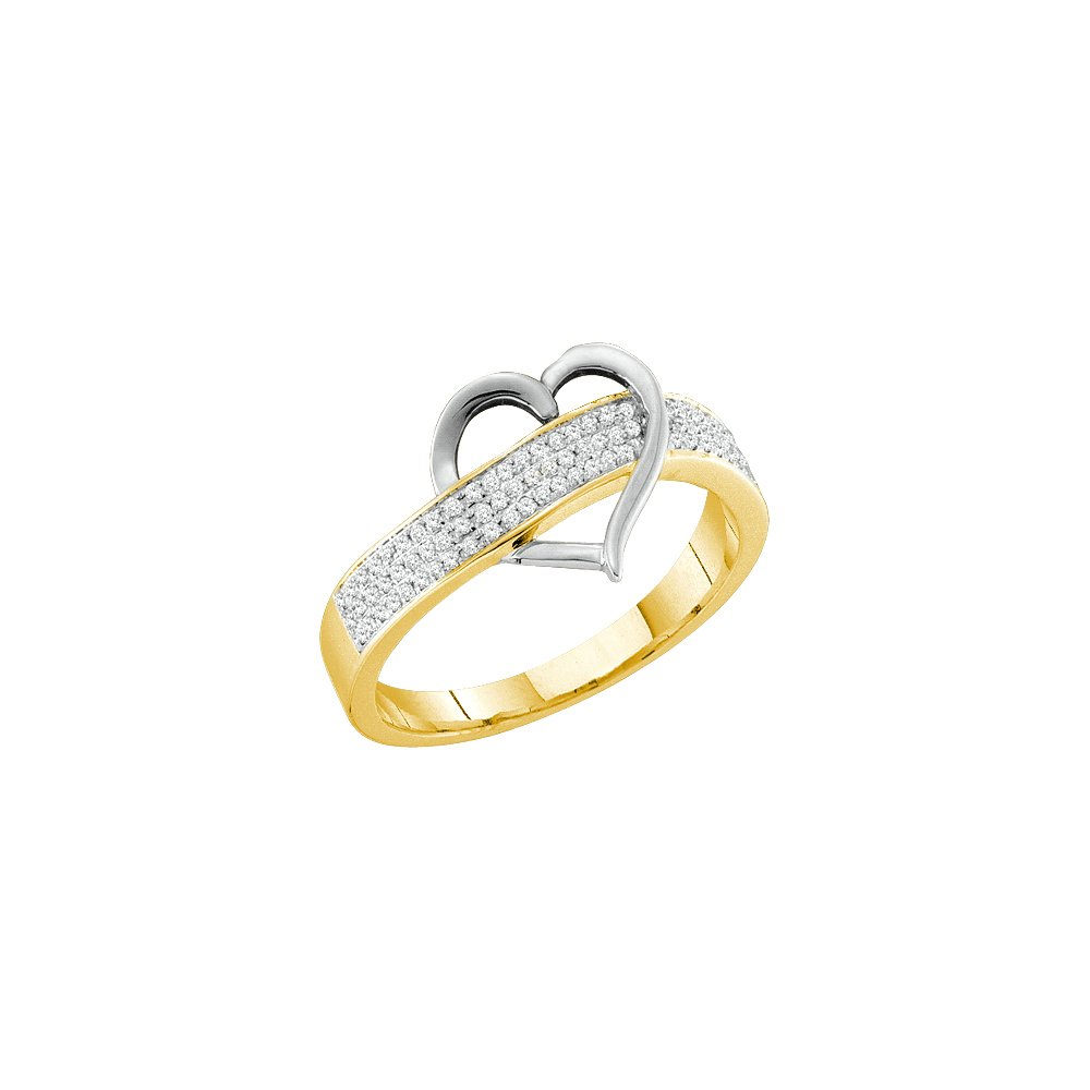 10kt Yellow Gold Womens Round Diamond Heart Love Band 1/6 Cttw (I2-I3 clarity; J-K color)