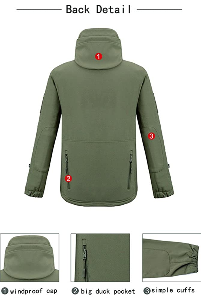 TACVASEN Mens Military Softshell Tactical Jacket Hooded Fleece Coat TJ1