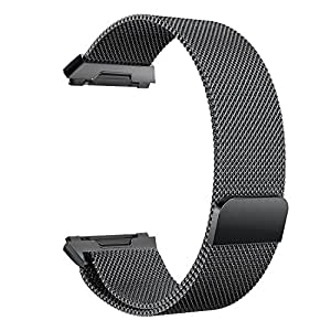 "Ionic Watch Strap, Yoking Magnetic Milanese Loop Stainless Steel Watch Band with Built-in Quick Release Adapter for Fitbit ionic Sport Watch Small(5.5""-8.6"")/Large(6.1""-10.1"") Size (Black, Small(5.5""-8.6""))"