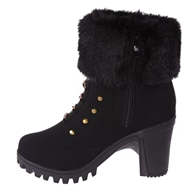 Women's Winter Plush Boots Martin Square Heels Platform Boots