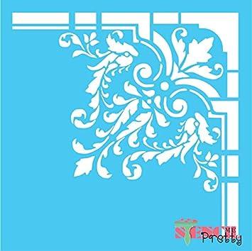Standard Brilliant Blue Color Material Fancy Victorian Corner Stencil Damask Border Design Xs 9 X 9