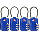 4 Pack TSA Approved Travel Luggage Combination Cable Locks for Suitcases, Backpake (Blue)