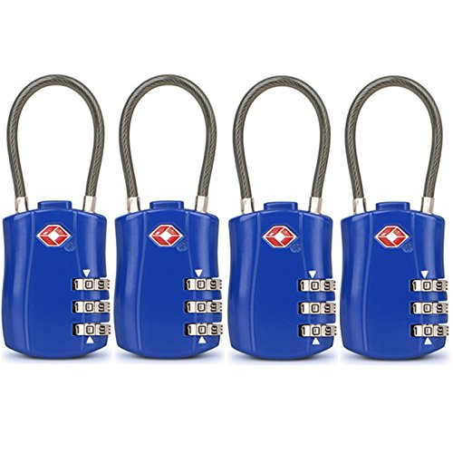 4 Pack TSA Approved Travel Luggage Combination Cable Locks for Suitcases, Backpake (Blue) by Arzok