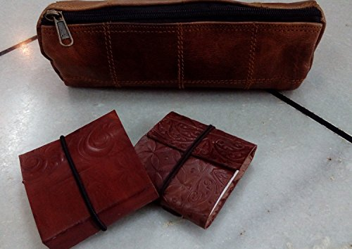 Gbag (T) ''Felix'' Genuine Leather Stationery Pencil Pen Case Art Pouch Office Uni College Smart Everyday Vintage Unisex Brown P6 by Gbag (T) (Image #2)