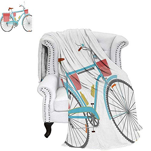 """WilliamsDecor Bicycle Oversized Travel Throw Cover Blanket Classic Touring Bike with Derailleur and Saddlebags Healthy Active Lifestyle Travel Travel Throw Blanket 70""""x60"""" Multicolor"""